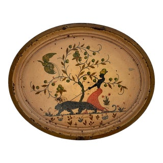 Mid Century Modern Tray With Black Panther For Sale