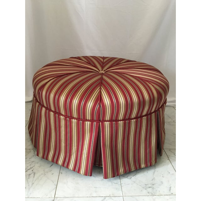 Textile Traditional Round Stripe Upholstered Pleated Skirt Ottoman For Sale - Image 7 of 7