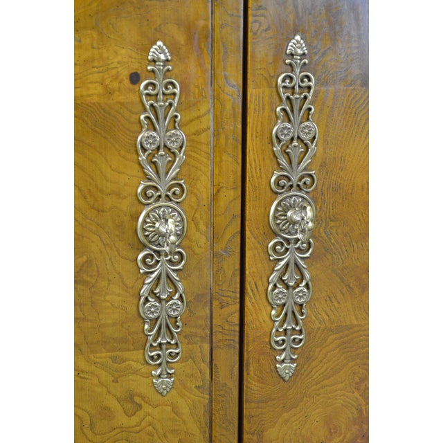Henredon Henredon Burl Wood Charles X Collection 2 Door Server Cabinet For Sale - Image 4 of 10