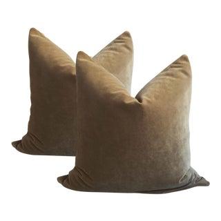 Modern Olive Velvet Pillows - A Pair