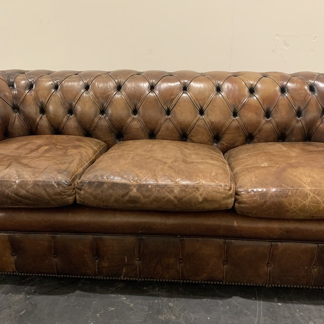 Leather 1980s Brown Leather Chesterfield Sofa For Sale - Image 7 of 13