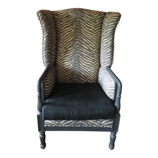 Louis XVI Zebra Linen Upholstered Wing Chair