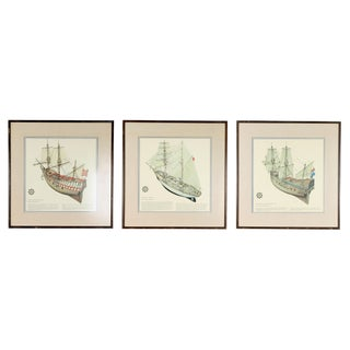 """Antique """"Maritime Ship"""" Framed Lithographic Prints - Set of Three For Sale"""