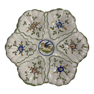 Martres-Tolosane Moustier Floral Oyster Plate For Sale