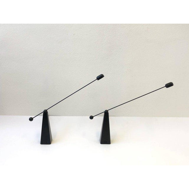 Pair of Adjustable Black Lacquered Table Lamps by Ron Rezek For Sale In Palm Springs - Image 6 of 9