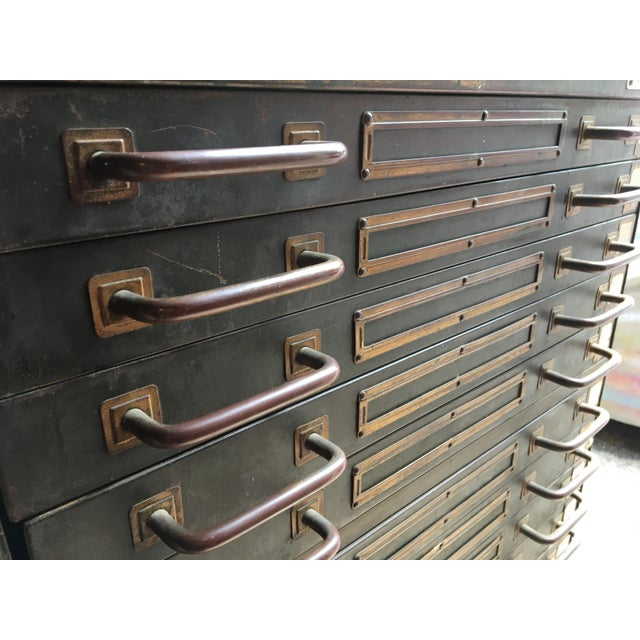 Industrial Steel Flat File Cabinet For Sale - Image 10 of 11