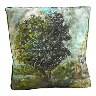 """Pastoral"" Landscape Gallery Pillow With Emerald Silk Velvet Trim For Sale"