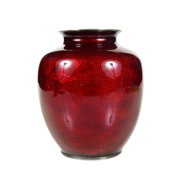 Exquisite Antique Japanese Red Cloisonne Vase Decaso