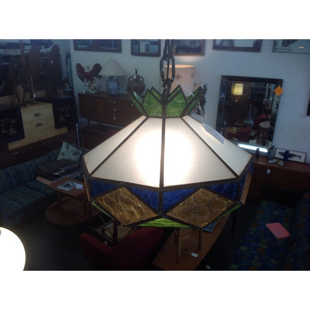 1970s Vintage Stained Glass Light Fixture - Image 3 of 5