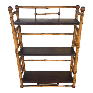 Small Antique Bamboo Bookshelf For Sale