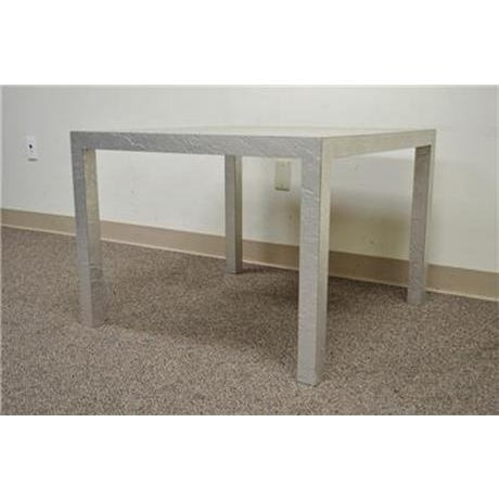 Vintage Mid Century Modern Silver Square Parsons Coffee Side Occasional Table - Image 9 of 12