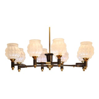 Jacques Adnet Mid-Century 8 Light Chandelier, France For Sale