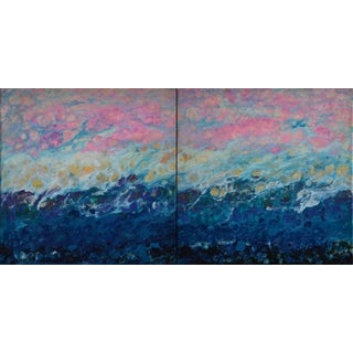 """Marie Danielle Leblanc """"Lac Trouser"""" Abstract Landscape Mixed Media Hi-Gloss Diptych Painting in Pink, Blue, White For Sale"""