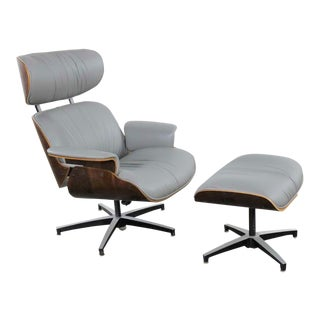 Mid Century Modern Plycraft Lounge Chair and Ottoman in Gray and Walnut For Sale