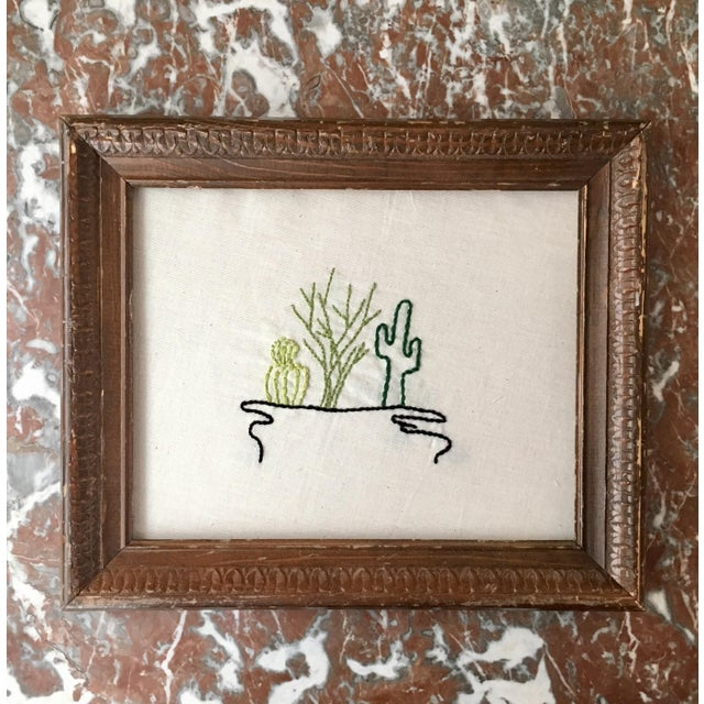 Antique Framed Cactus Embroidered Art - Image 2 of 6