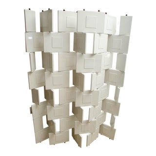 White Lacquer Brick Design Screen by Eileen Grey For Sale