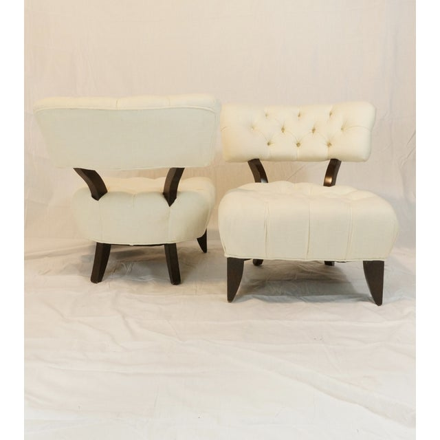 Billy Haines Style Tufted Lounge Chairs - A Pair - Image 5 of 7