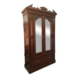 Antique Mirrored Oak Wardrobe