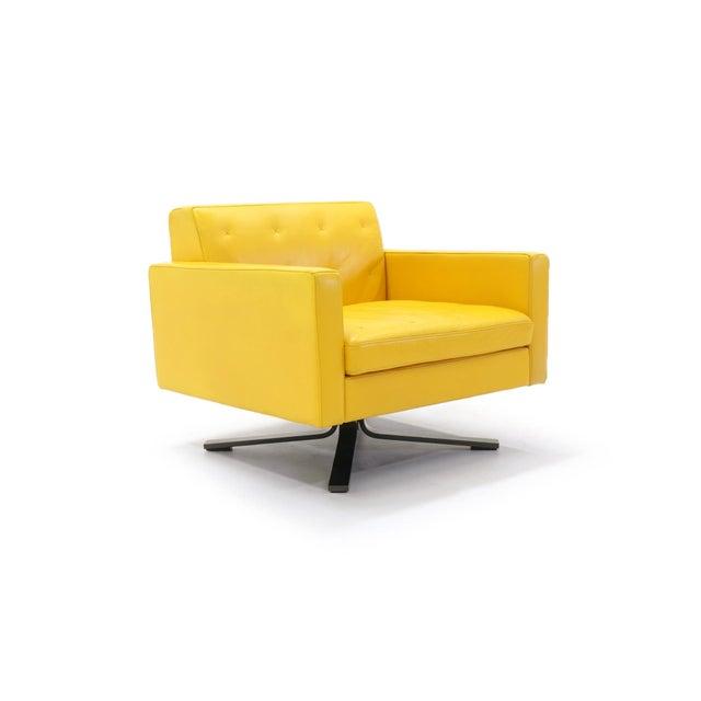 Poltrona Frau Yellow Leather Memory Swivel Lounge Chair - Image 3 of 11