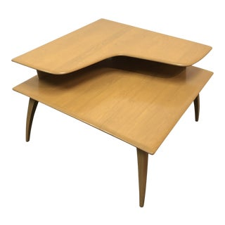 1950s Mid-Century Modern Heywood Wakefield Two-Tier Corner Table For Sale