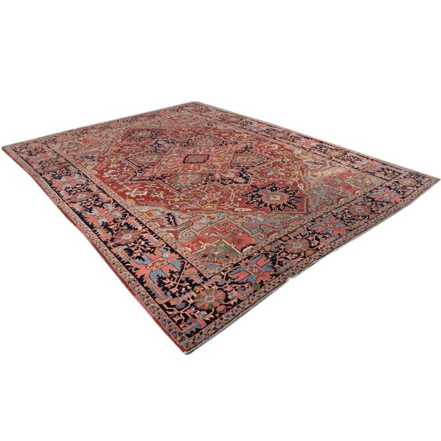 Early 20th Century Antique Persian Heriz Wool Rug For Sale - Image 12 of 13