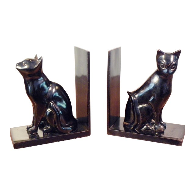 Vintage Mid Century Black Cat Bookends - Pair - Image 1 of 7