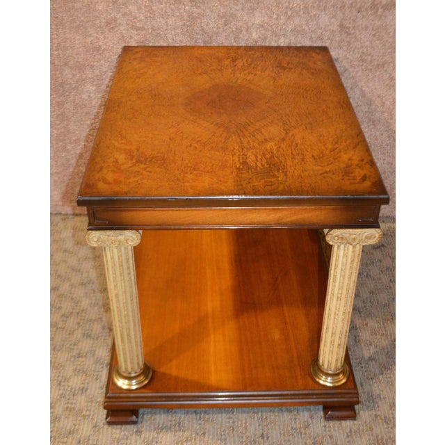 Gold Vintage Neo-Classic Style Corenthian Column Leg Side Tables - a Pair For Sale - Image 8 of 13