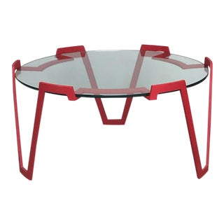 Red Metal Coffee Table in the Style of Jean Royere For Sale