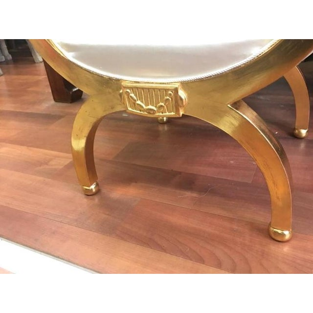 Art Deco Maurice Dufrene Refined Gold Leaf Curdle Stool in Satin Silk For Sale - Image 3 of 5