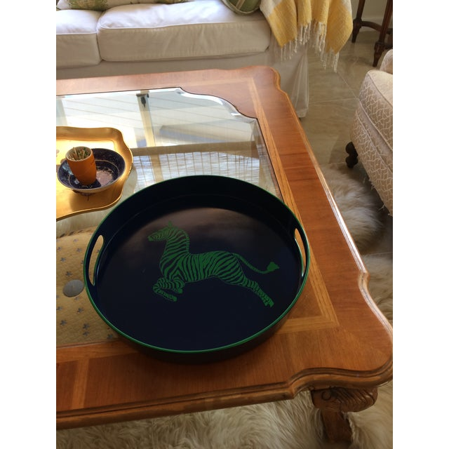 Blue Zebra Scalamandre Inspired Navy and Green Tray For Sale - Image 8 of 11