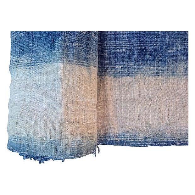 Faded Indigo Batik Textile Fabric - 3.6 Yards - Image 5 of 6