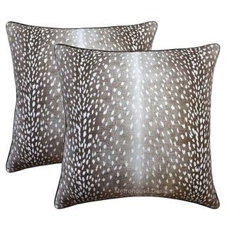 Umber Down Feather Designer Pillows - Set of 2 For Sale