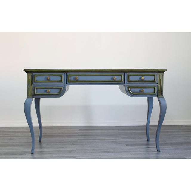 Solid built Mid century desk of five drawers this lovely desk has been painted in blue and green with antique finish this...