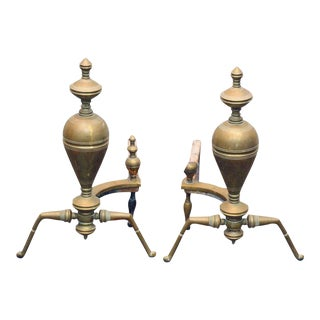 Brass & Iron Andirons - A Pair For Sale