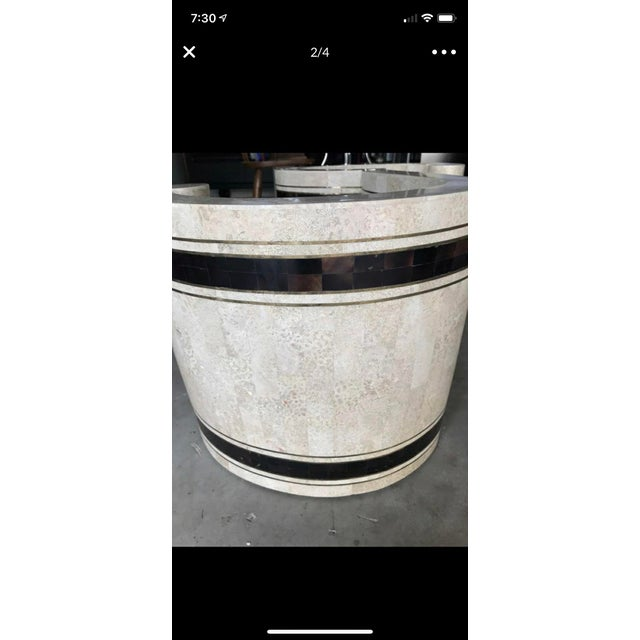 Maitland - Smith Vintage Art Deco Travertine, Brass and Coconut Shell Coffee Table Base For Sale - Image 4 of 6