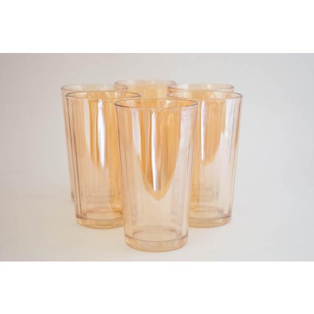 "Mid-Century Modern Jeanette Glass Marigold ""Optic Pillar"" Tumbler Set/6 For Sale - Image 3 of 7"