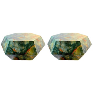 Pair of Faceted Geode Tables Attributed to Aldo Tura For Sale