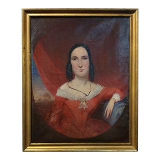 18th century American Folk Art -beautiful Portrait of a Woman in Red