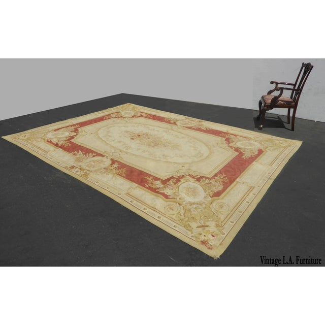 Vintage Tan Floral Aubusson Area Rug - 8′6″ × 11′7″ - Image 2 of 11