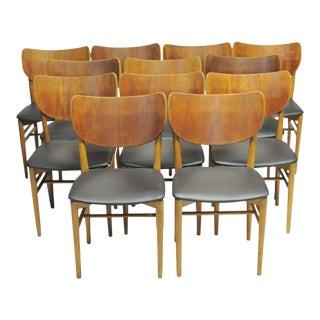 1950s Niels Koppel Dining Chairs in Teak and Oak by Slagelse Møbelfabrik - Set of 12 For Sale