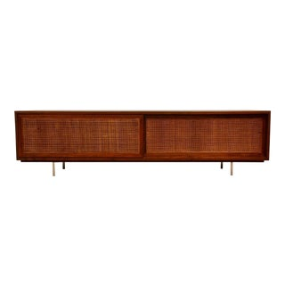 Walnut Cane Low Tv Console Credenza For Sale
