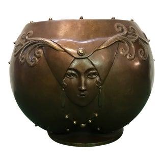 """1980s Art Deco Erte """"Fruit of Life"""" Bronze Planter For Sale"""