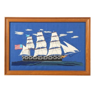 Vintage Handmade Embroidered Ship Framed Textile Art For Sale