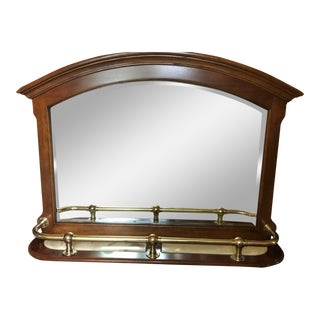 Walnut With Marble & Brass Bar Mirror. Excellent Condition. I Will Give a 10% Discount if Picked Up in Dfw. For Sale