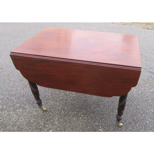 Antique Federal Dropleaf Solid Mahogany Table For Sale - Image 9 of 13