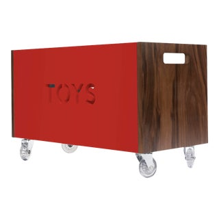 Toy Box Chest on Casters in Walnut With Red Finish For Sale