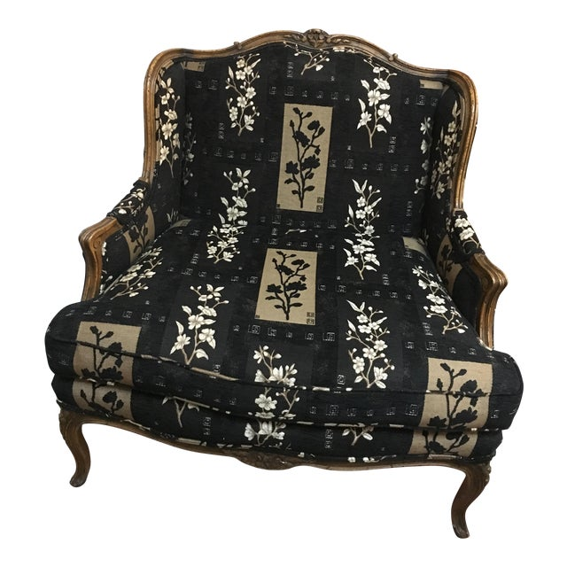 Oversized Black Ornate Chair - Image 1 of 4