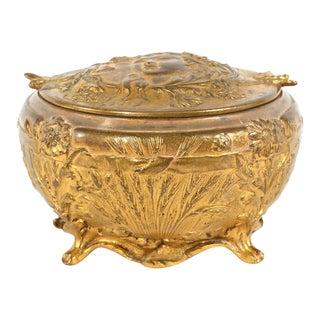 Art Nouveau Bronze Covered Decorative Box For Sale