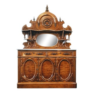 1860s-1870s American Marble Topped Sideboard With Mirrored Back Attr. To Mitchell and Rammelsberg For Sale