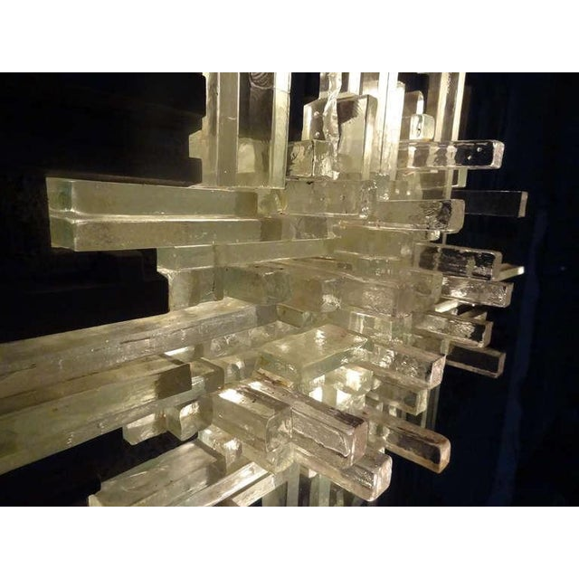 Early 20th Century Cast Aluminum and Glass Illuminated Wall Sculpture by Poliarte For Sale - Image 5 of 8